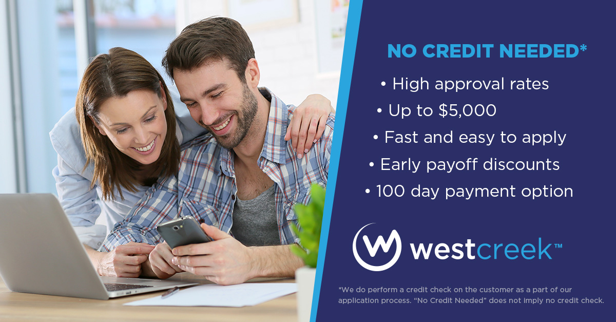 image of West Creek Financing Banner - No Credit Needed