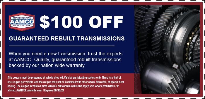 Image of $100 off Transmission Rebuild Repairs Coupon